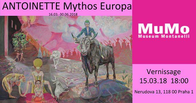 Collage zur ANTOINETTE-Ausstellung Mythos Europa in Prag